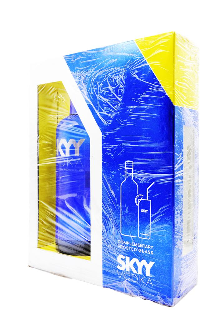 SKYY VODKA 750ML GIFT GLASS-DISCON