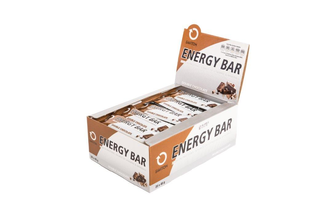 SWITCH  ENERGY BAR DOUBLE CHOC 20X45G