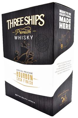 THREE SHIPS BOURBON WHISKY 750ML WITH 2 GLASSES