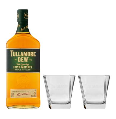 TULLAMORE DEW WHISKY 750ML & 2 GLASSES-328